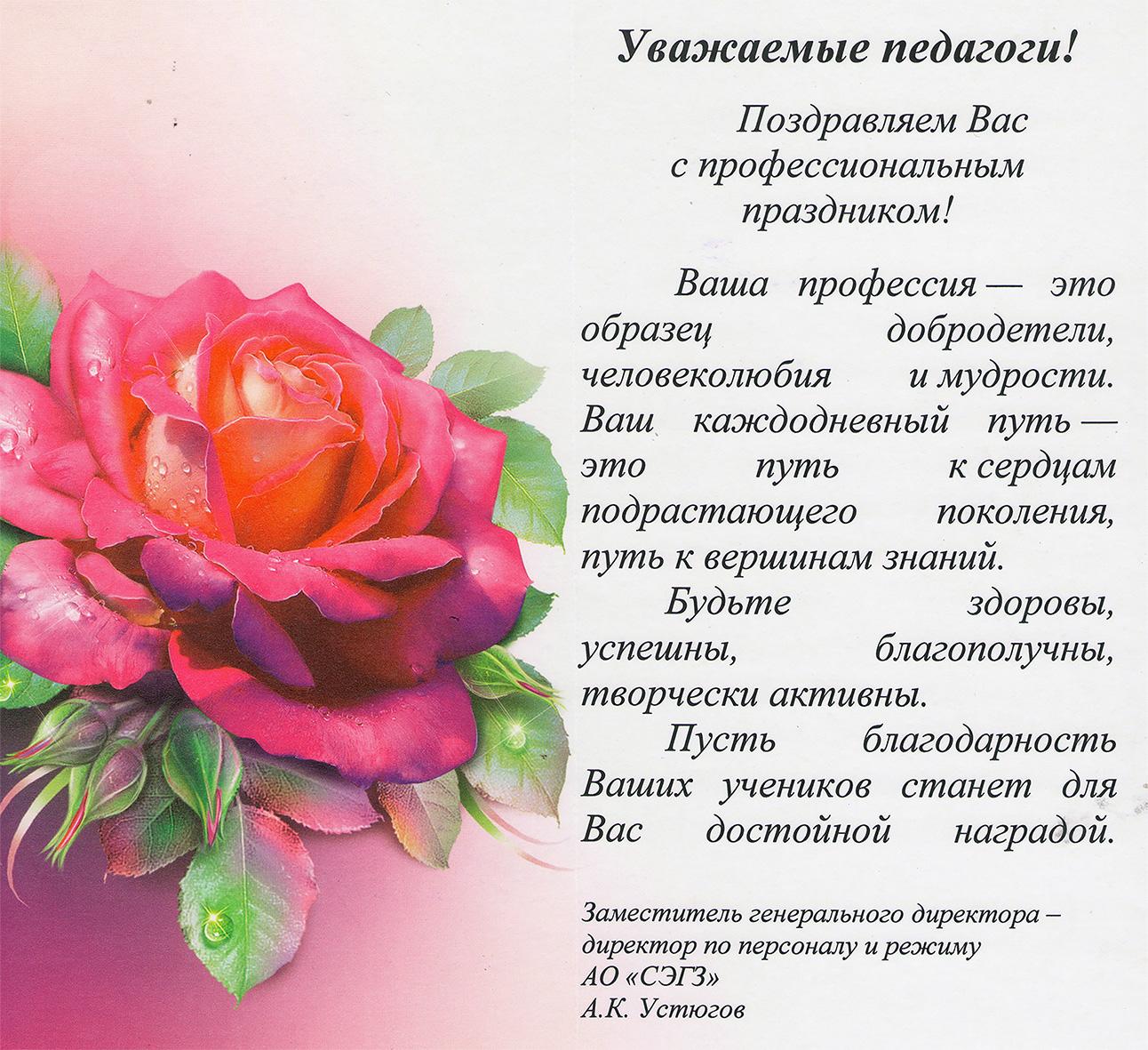 Поздравление с профессиональным праздником учителя 95